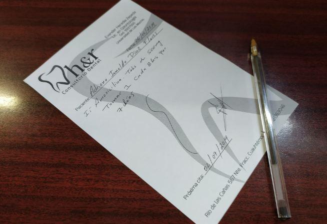 receta medica en odontologia
